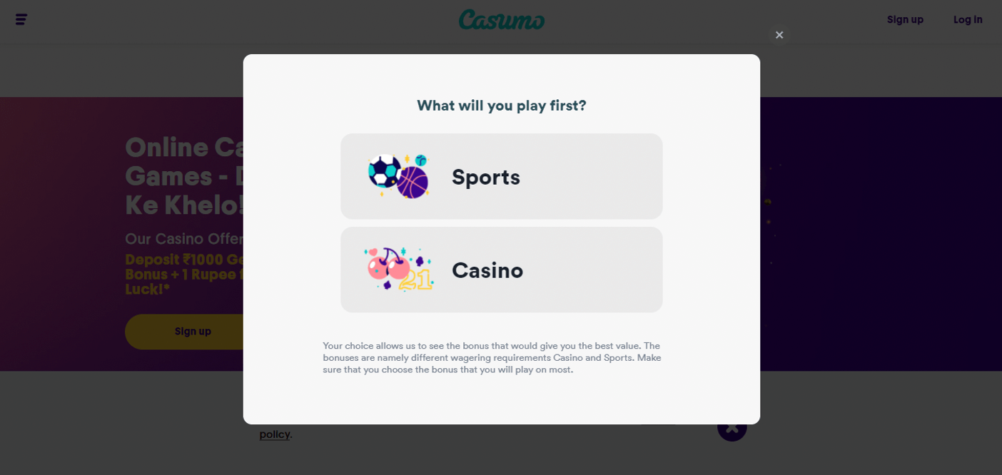 step 6 - choose sports betting or casino
